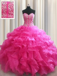 Customized Visible Boning Beading and Ruffles Quinceanera Dress Hot Pink Lace Up Sleeveless Floor Length