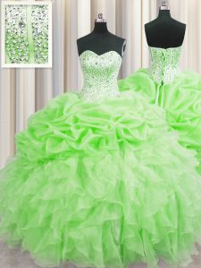 Visible Boning Organza Lace Up Quince Ball Gowns Sleeveless Floor Length Beading and Ruffles and Pick Ups