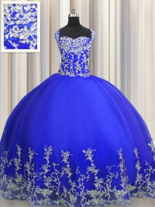 Popular Halter Top Royal Blue Organza Lace Up Quinceanera Gowns Sleeveless Floor Length Beading and Appliques