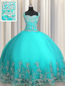 Organza Sleeveless Floor Length Sweet 16 Dress and Beading and Appliques