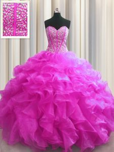 Most Popular Visible Boning Fuchsia Ball Gowns Sweetheart Sleeveless Organza Floor Length Lace Up Beading and Ruffles Quinceanera Dresses