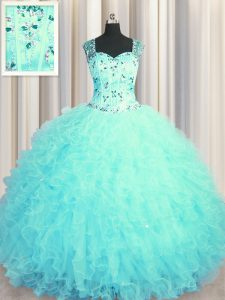 Custom Made See Through Zipper Up Floor Length Ball Gowns Sleeveless Aqua Blue Sweet 16 Dresses Zipper