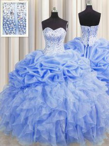Nice Visible Boning Baby Blue Lace Up Sweetheart Ruffles and Pick Ups Quince Ball Gowns Organza Sleeveless