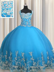 Free and Easy Floor Length Lace Up Ball Gown Prom Dress Baby Blue for Military Ball and Sweet 16 and Quinceanera with Beading and Appliques