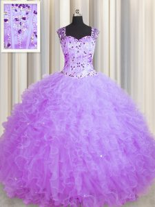 Graceful See Through Zipper Up Sleeveless Zipper Floor Length Beading and Ruffles Quinceanera Gown