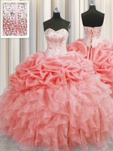 New Style Pick Ups Visible Boning Floor Length Ball Gowns Sleeveless Watermelon Red Sweet 16 Dress Lace Up