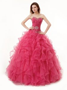 Coral Red A-line Organza Sweetheart Sleeveless Beading and Ruffles Floor Length Lace Up Quinceanera Gown