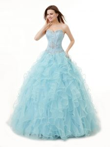 Sleeveless Organza Floor Length Lace Up Quinceanera Gown in Light Blue with Beading and Ruffles