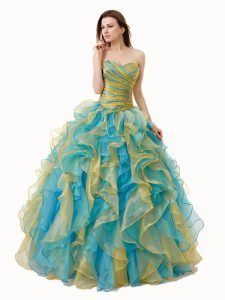 Nice Multi-color Sleeveless Organza Lace Up Dama Dress for Quinceanera for Military Ball and Sweet 16 and Quinceanera