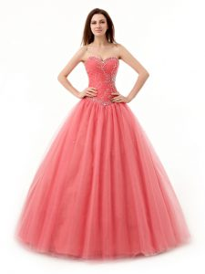 Affordable Watermelon Red Tulle Lace Up Quinceanera Gowns Sleeveless Floor Length Beading and Ruching