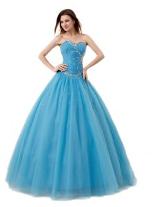 Modern Baby Blue Lace Up Vestidos de Quinceanera Beading and Ruching Sleeveless Floor Length