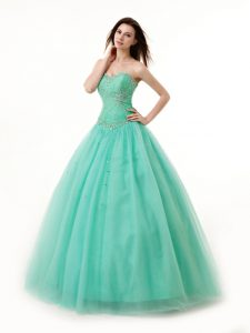 Fancy Turquoise Sweetheart Lace Up Beading and Ruching Damas Dress Sleeveless