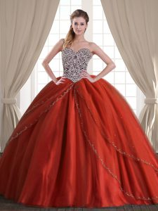 Captivating Sweetheart Sleeveless Sweet 16 Dresses With Brush Train Beading Rust Red Tulle