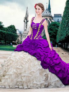 White And Purple Lace Up Straps Beading and Ruffles and Pick Ups Quinceanera Gown Organza and Taffeta Sleeveless Brush Train