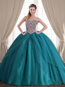 Custom Design Sweetheart Sleeveless Party Dress Wholesale With Brush Train Beading Teal Tulle