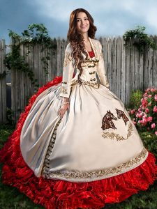 Beading and Embroidery and Ruffles Quinceanera Dress White And Red Lace Up Sleeveless With Brush Train