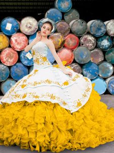 Beautiful Yellow And White Sweetheart Neckline Appliques and Embroidery and Ruffles 15 Quinceanera Dress Sleeveless Lace Up