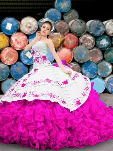 Discount Multi-color Ball Gowns Sweetheart Sleeveless Organza Floor Length Lace Up Appliques and Embroidery and Ruffles Vestidos de Quinceanera