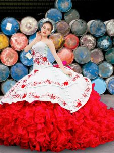 Customized Floor Length White And Red Quinceanera Gown Sweetheart Sleeveless Lace Up
