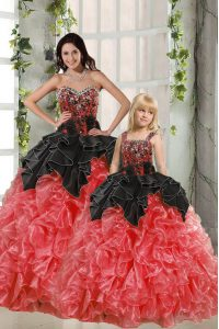 Sleeveless Organza Floor Length Lace Up Quinceanera Gown in Red And Black with Beading and Ruffles