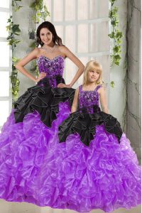 Floor Length Black And Purple Sweet 16 Dresses Organza Sleeveless Beading and Ruffles