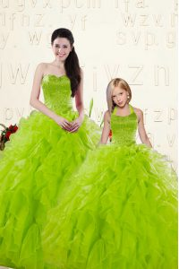 Yellow Green Organza Lace Up Sweetheart Sleeveless Floor Length Vestidos de Quinceanera Beading and Ruffles