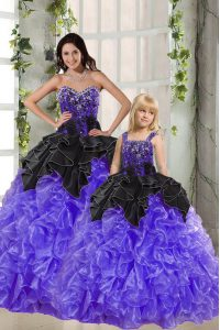 New Arrival Black And Purple Lace Up Sweetheart Beading and Ruffles 15th Birthday Dress Organza Sleeveless