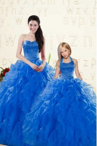 Sweetheart Sleeveless Lace Up 15 Quinceanera Dress Royal Blue Organza