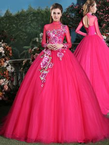 Attractive High-neck Long Sleeves Tulle Ball Gown Prom Dress Appliques Brush Train Lace Up