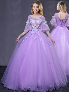 Scoop Lavender Ball Gowns Lace and Appliques 15th Birthday Dress Lace Up Tulle Half Sleeves Floor Length