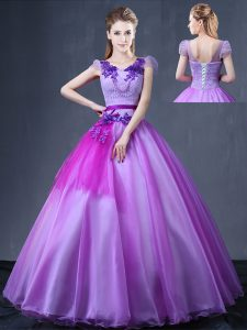 Lavender Ball Gowns Organza V-neck Short Sleeves Lace and Appliques Floor Length Lace Up Quince Ball Gowns