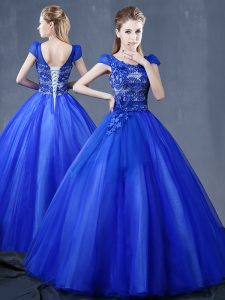 Exquisite Ball Gowns Ball Gown Prom Dress Royal Blue V-neck Organza Short Sleeves Floor Length Lace Up