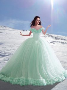 Stylish Off The Shoulder Sleeveless Court Train Lace Up 15th Birthday Dress Apple Green Tulle