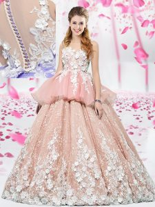 Luxury Scoop Floor Length Ball Gowns Sleeveless Pink Quinceanera Gowns Lace Up