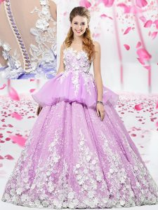 Flirting Scoop Floor Length Lace Up Sweet 16 Quinceanera Dress Lilac for Military Ball and Sweet 16 and Quinceanera with Lace and Appliques