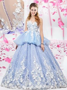 Sumptuous Ball Gowns Sweet 16 Dresses Lavender Scoop Organza and Tulle Sleeveless Floor Length Lace Up