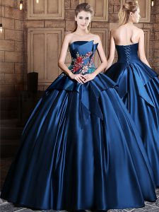 Custom Fit Satin Sleeveless Floor Length Sweet 16 Quinceanera Dress and Appliques