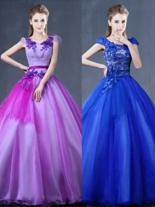 Glittering Short Sleeves Floor Length Lace and Appliques Lace Up Sweet 16 Dress with Purple
