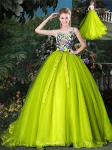 Chic Scoop Yellow Green Sleeveless Court Train Beading and Appliques and Belt Sweet 16 Dress