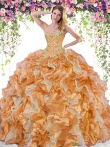Trendy Multi-color Lace Up 15 Quinceanera Dress Beading and Ruffles Sleeveless Floor Length