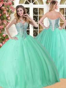 Floor Length Lace Up 15 Quinceanera Dress Apple Green for Military Ball and Sweet 16 and Quinceanera with Beading
