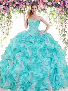 Artistic Sleeveless Beading and Ruffles Lace Up Vestidos de Quinceanera