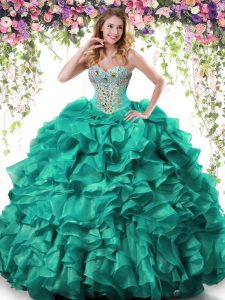 Sleeveless Organza Floor Length Lace Up Ball Gown Prom Dress in Turquoise with Beading and Ruffles