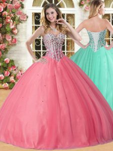 Glittering Coral Red Ball Gowns Sweetheart Sleeveless Tulle Floor Length Lace Up Beading 15 Quinceanera Dress