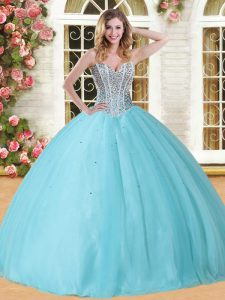 Luxurious Baby Blue Ball Gowns Sweetheart Sleeveless Tulle Floor Length Lace Up Beading Sweet 16 Quinceanera Dress