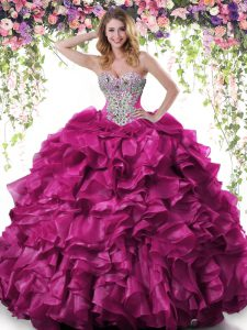Custom Made Fuchsia Organza Lace Up 15th Birthday Dress Sleeveless Floor Length Beading and Ruffles