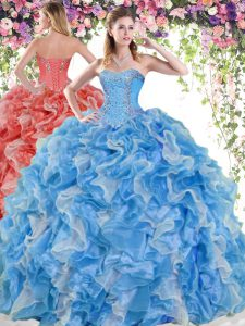 Custom Fit Sleeveless Organza Floor Length Lace Up Ball Gown Prom Dress in Blue And White with Beading and Ruffles