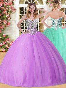 New Arrival Lilac Ball Gowns Tulle Sweetheart Sleeveless Beading Floor Length Lace Up Sweet 16 Dress