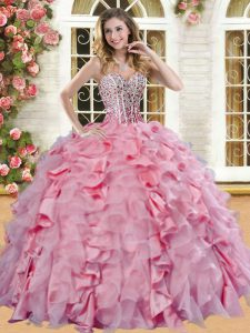 Vintage Beading and Ruffles Quinceanera Gowns Pink Lace Up Sleeveless Floor Length