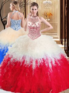 Fine Halter Top White And Red Sleeveless Tulle Lace Up Quinceanera Dama Dress for Military Ball and Sweet 16 and Quinceanera